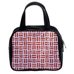Woven1 White Marble & Red Marble (r) Classic Handbags (2 Sides) by trendistuff