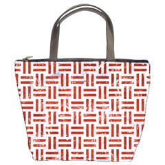 Woven1 White Marble & Red Marble (r) Bucket Bags by trendistuff