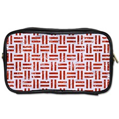 Woven1 White Marble & Red Marble (r) Toiletries Bags by trendistuff