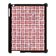 Woven1 White Marble & Red Marble (r) Apple Ipad 3/4 Case (black) by trendistuff