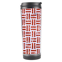 Woven1 White Marble & Red Marble (r) Travel Tumbler by trendistuff