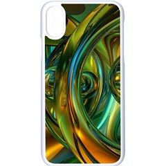 3d Transparent Glass Shapes Mixture Of Dark Yellow Green Glass Mixture Artistic Glassworks Apple Iphone X Seamless Case (white)