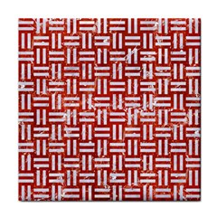 Woven1 White Marble & Red Marble Tile Coasters by trendistuff