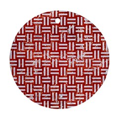 Woven1 White Marble & Red Marble Round Ornament (two Sides) by trendistuff
