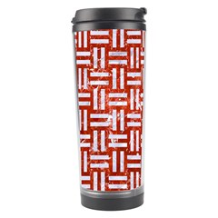 Woven1 White Marble & Red Marble Travel Tumbler by trendistuff
