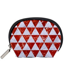 Triangle3 White Marble & Red Marble Accessory Pouches (small)  by trendistuff