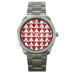 Triangle2 White Marble & Red Marble Sport Metal Watch by trendistuff