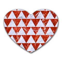 Triangle2 White Marble & Red Marble Heart Mousepads by trendistuff