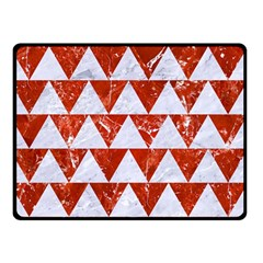 Triangle2 White Marble & Red Marble Double Sided Fleece Blanket (small)  by trendistuff