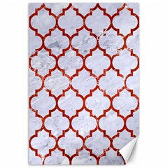 Tile1 White Marble & Red Marble (r) Canvas 12  X 18   by trendistuff