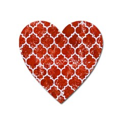 Tile1 White Marble & Red Marble Heart Magnet by trendistuff