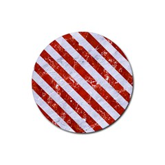 Stripes3 White Marble & Red Marble Rubber Round Coaster (4 Pack)