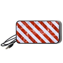 Stripes3 White Marble & Red Marble Portable Speaker by trendistuff