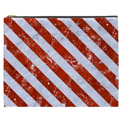 Stripes3 White Marble & Red Marble Cosmetic Bag (xxxl)  by trendistuff