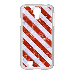 Stripes3 White Marble & Red Marble Samsung Galaxy S4 I9500/ I9505 Case (white)
