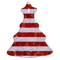 Stripes2white Marble & Red Marble Christmas Tree Ornament (two Sides) by trendistuff