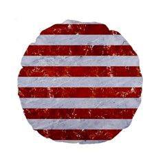 Stripes2white Marble & Red Marble Standard 15  Premium Flano Round Cushions by trendistuff