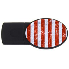 Stripes1 White Marble & Red Marble Usb Flash Drive Oval (4 Gb) by trendistuff