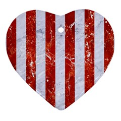 Stripes1 White Marble & Red Marble Heart Ornament (two Sides)