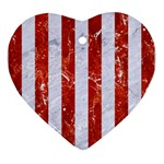STRIPES1 WHITE MARBLE & RED MARBLE Heart Ornament (Two Sides) Front
