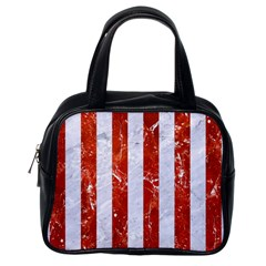 Stripes1 White Marble & Red Marble Classic Handbags (one Side)