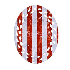Stripes1 White Marble & Red Marble Ornament (oval Filigree) by trendistuff