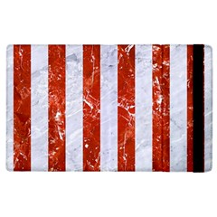 Stripes1 White Marble & Red Marble Apple Ipad 2 Flip Case by trendistuff