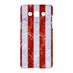 Stripes1 White Marble & Red Marble Samsung Galaxy A5 Hardshell Case  by trendistuff