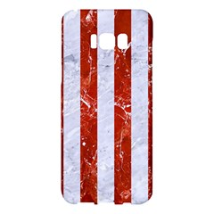 Stripes1 White Marble & Red Marble Samsung Galaxy S8 Plus Hardshell Case  by trendistuff