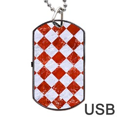 Square2 White Marble & Red Marble Dog Tag Usb Flash (one Side) by trendistuff