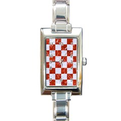 Square1 White Marble & Red Marble Rectangle Italian Charm Watch by trendistuff