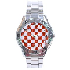 Square1 White Marble & Red Marble Stainless Steel Analogue Watch by trendistuff