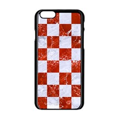 Square1 White Marble & Red Marble Apple Iphone 6/6s Black Enamel Case by trendistuff
