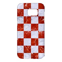 Square1 White Marble & Red Marble Samsung Galaxy S7 Edge Hardshell Case by trendistuff