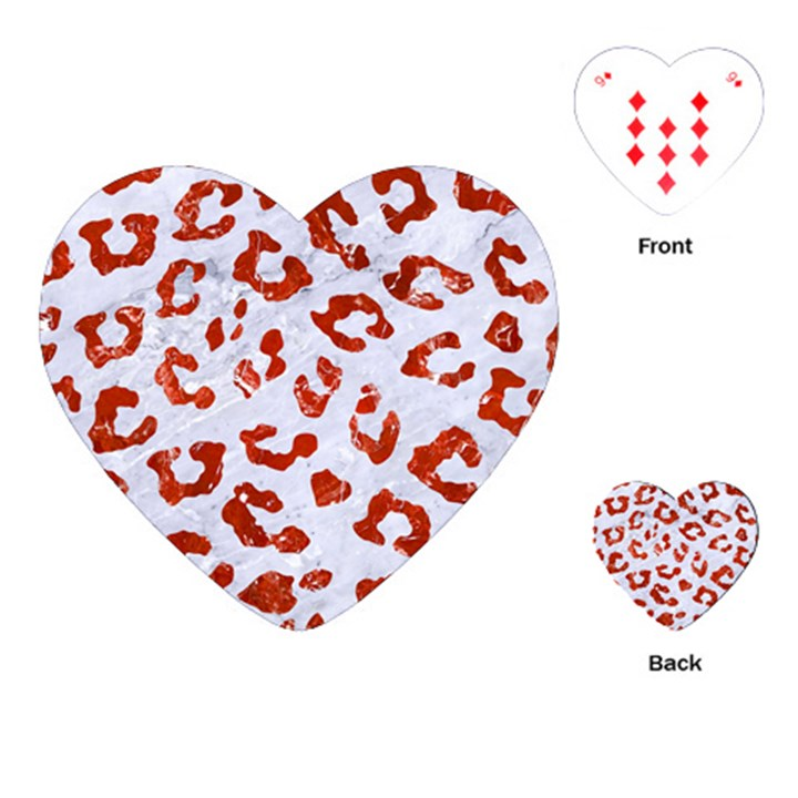 SKIN5 WHITE MARBLE & RED MARBLE Playing Cards (Heart)