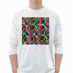 3d Pattern Mix White Long Sleeve T Shirts