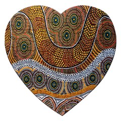 Aboriginal Traditional Pattern Jigsaw Puzzle (heart) by Sapixe