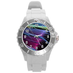 Abstract Satin Round Plastic Sport Watch (l)