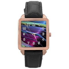 Abstract Satin Rose Gold Leather Watch
