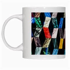 Abstract Multicolor Cubes 3d Quilt Fabric White Mugs