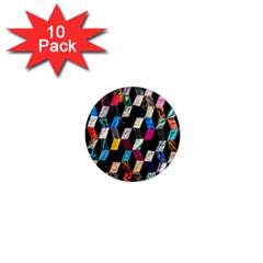 Abstract Multicolor Cubes 3d Quilt Fabric 1  Mini Magnet (10 Pack)  by Sapixe