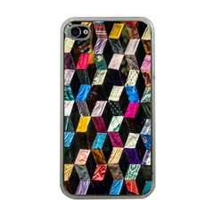 Abstract Multicolor Cubes 3d Quilt Fabric Apple Iphone 4 Case (clear)