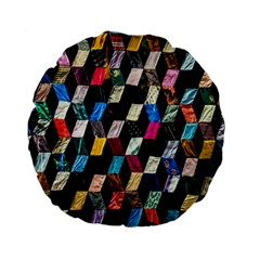 Abstract Multicolor Cubes 3d Quilt Fabric Standard 15  Premium Flano Round Cushions by Sapixe