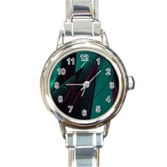 Abstract Green Purple Round Italian Charm Watch