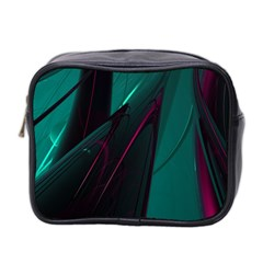 Abstract Green Purple Mini Toiletries Bag 2 Side
