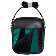 Abstract Green Purple Girls Sling Bags by Sapixe