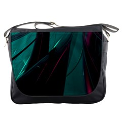 Abstract Green Purple Messenger Bags