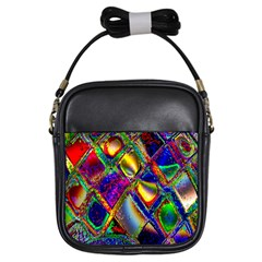 Abstract Digital Art Girls Sling Bags by Sapixe