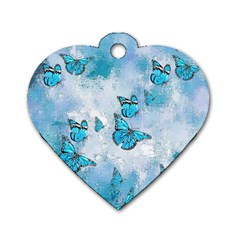 Adorable Butterflies, Aqua Dog Tag Heart (one Side) by MoreColorsinLife