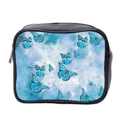 Adorable Butterflies, Aqua Mini Toiletries Bag 2 Side by MoreColorsinLife